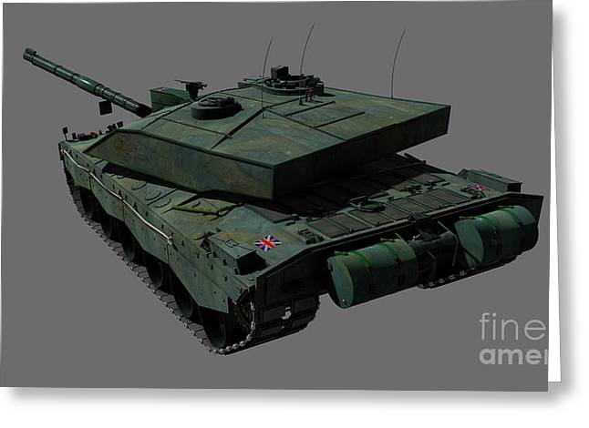 Challenger Model Greeting Cards - Rear View Of A British Challenger Ii Greeting Card by Rhys Taylor