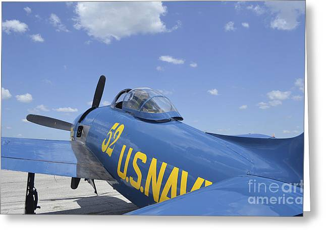 Angel Blues Greeting Cards - Rear View Of A F8f Bearcat Parked Greeting Card by Stocktrek Images