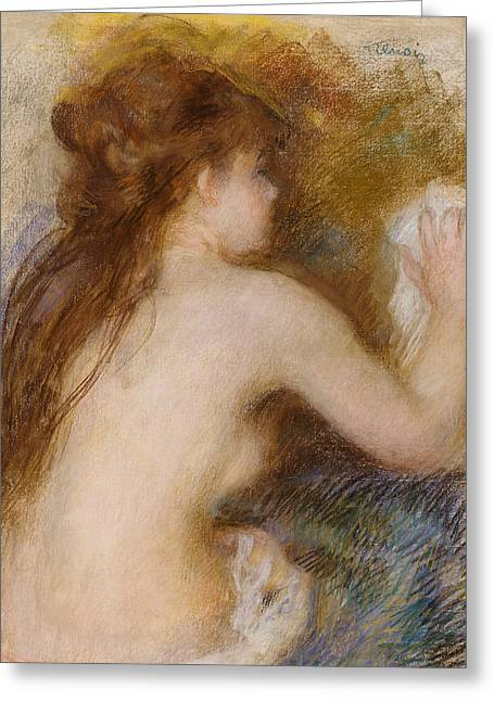 Renoir Greeting Cards - Rear view of a nude woman Greeting Card by Pierre Auguste Renoir