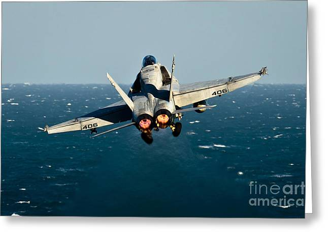Military Airplanes Greeting Cards - Rear View Of An Fa-18c Hornet Taking Greeting Card by Stocktrek Images