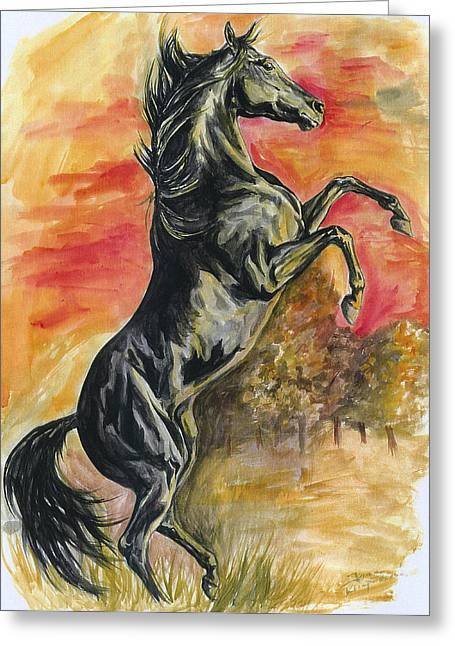 Quarter Horse Paintings Greeting Cards - Rearing Greeting Card by Jana Goode
