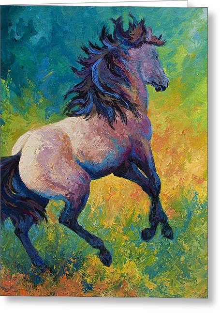 Buckskin Horse Greeting Cards - Rearing To Go Greeting Card by Marion Rose