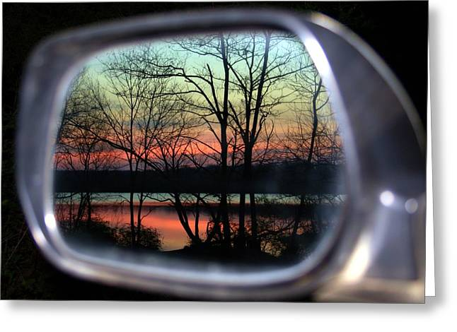 Rearview Greeting Cards - Rearview Mirror Greeting Card by Mitch Cat