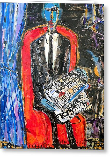 Damnation Greeting Cards - Recalling The Portrait Of An Unknown Man Reading A Newspaper Chevalier X By Andre Derain Greeting Card by Eria Nsubuga