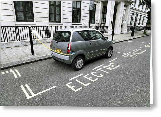 Ev-in Greeting Cards - Recharging An Electric Car Greeting Card by Martin Bond