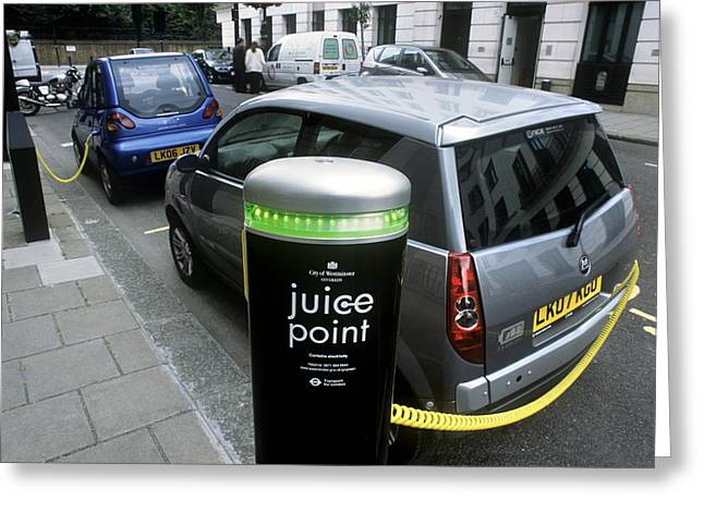 Ev-in Greeting Cards - Recharging Electric Cars Greeting Card by Martin Bond