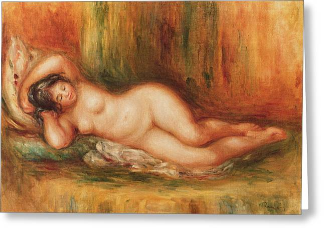 Arms Out Greeting Cards - Reclining bather Greeting Card by Pierre Auguste Renoir