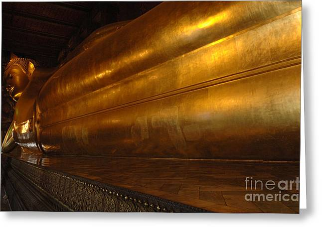 Historic Site Greeting Cards - Reclining Buddha Grand Palace Thailand Greeting Card by Bob Christopher