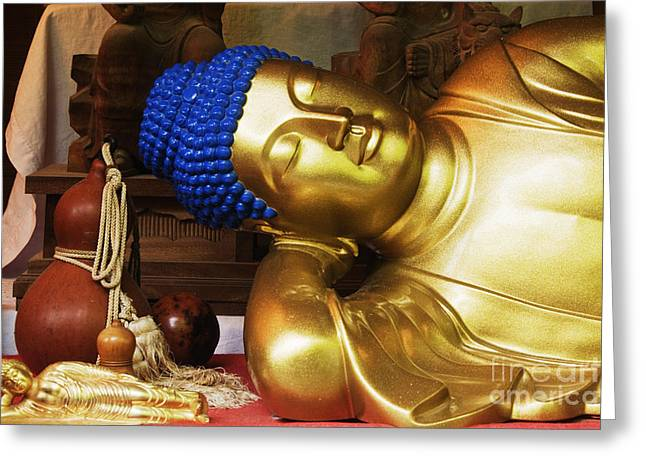 Altar Art Greeting Cards - Reclining Buddha Statue Greeting Card by Jeremy Woodhouse