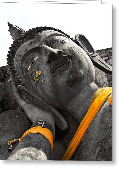 Brown Head Sculpture Greeting Cards - Reclining Buddha Thailand  Greeting Card by Ulrich Schade