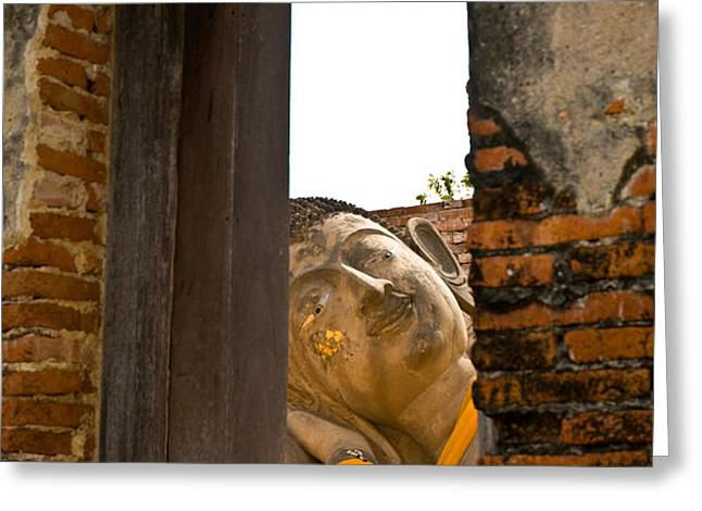 Reclining Buddha view through a window Greeting Card by Ulrich Schade