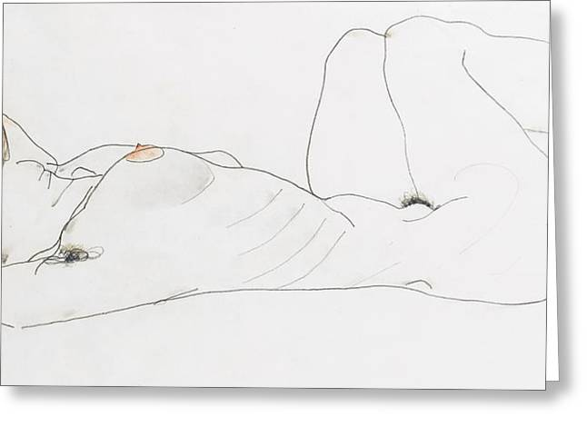 Sexy Greeting Cards - Reclining female nude Greeting Card by Egon Schiele