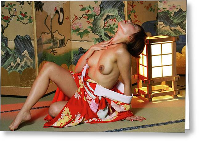 Tatami Greeting Cards - Reclining In Kimono Greeting Card by Tim Ernst
