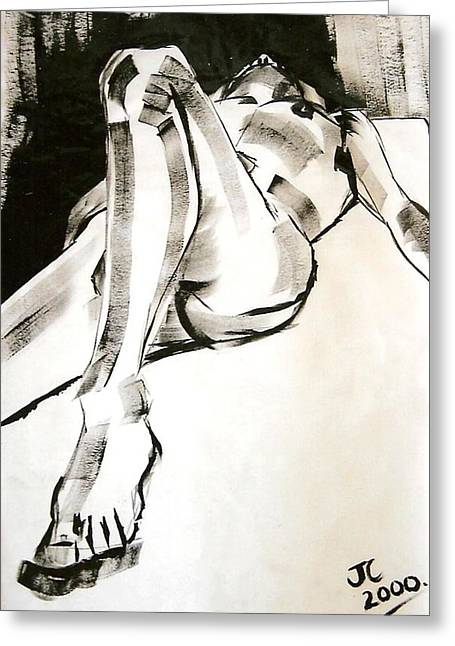Male Nude Greeting Cards - Reclining Male Greeting Card by Joanne Claxton