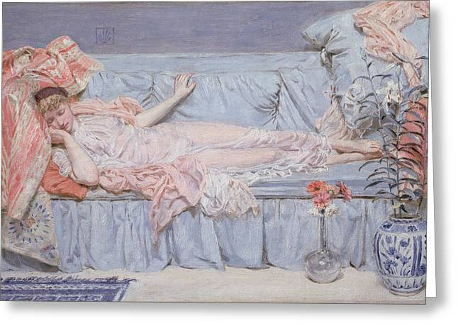 Throw Down Greeting Cards - Reclining Model Greeting Card by Albert Joseph Moore