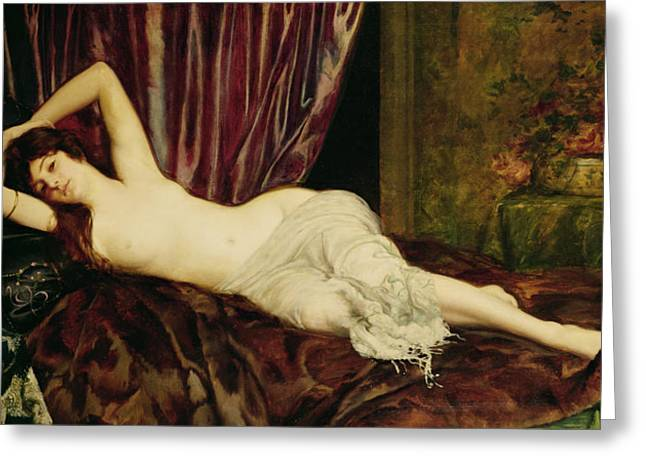 Followers Paintings Greeting Cards - Reclining Nude Greeting Card by Henri Fantin Latour