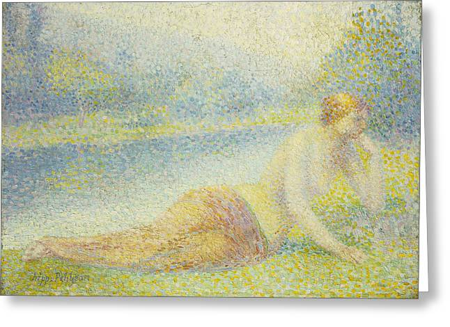 Contemplative Paintings Greeting Cards - Reclining Nude Greeting Card by Hippolyte Petitjean