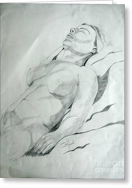 Reclining Nude Greeting Card by Julie Coughlin