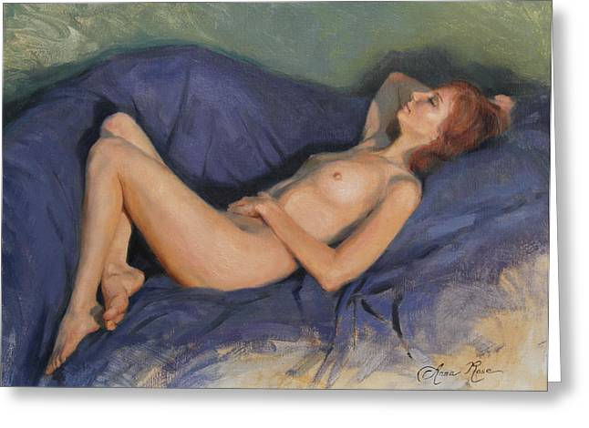 Red Hair Greeting Cards - Reclining Nude on Blue Greeting Card by Anna Bain