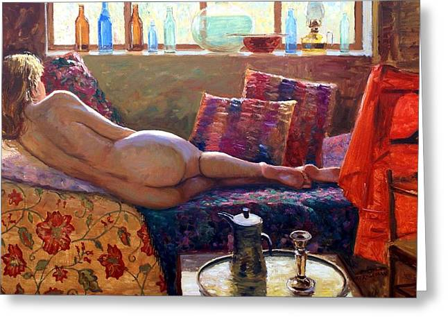 Cushion Paintings Greeting Cards - Reclining Nude Greeting Card by Roelof Rossouw