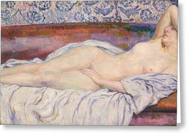 Daydreams Greeting Cards - Reclining Nude  Greeting Card by Theo van Rysselberghe