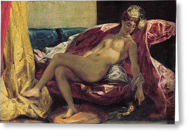 Cushion Paintings Greeting Cards - Reclining Odalisque Greeting Card by Ferdinand Victor Eugene Delacroix