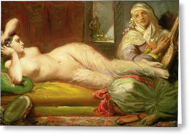 Strumming Greeting Cards - Reclining Odalisque Greeting Card by Theodore Chasseriau