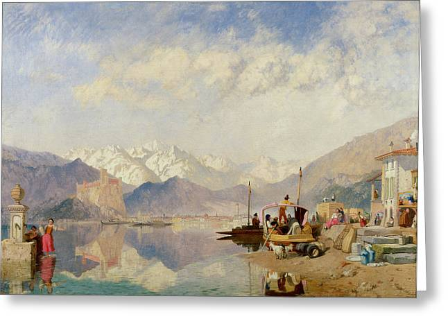 Italian Landscapes Greeting Cards - Recollections of the Lago Maggiore Market Day at Pallanza Greeting Card by James Baker Pyne