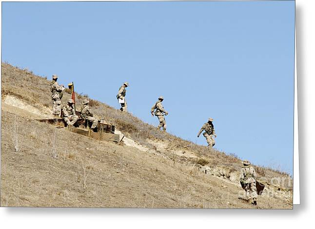 Checkpoint Greeting Cards - Recruits Descend One Of Many Hills Greeting Card by Stocktrek Images