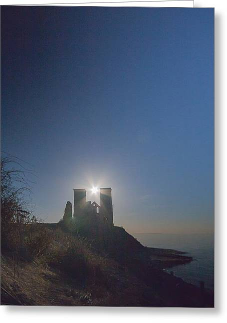Church Ruins Greeting Cards - Reculver Towers Greeting Card by Dawn OConnor
