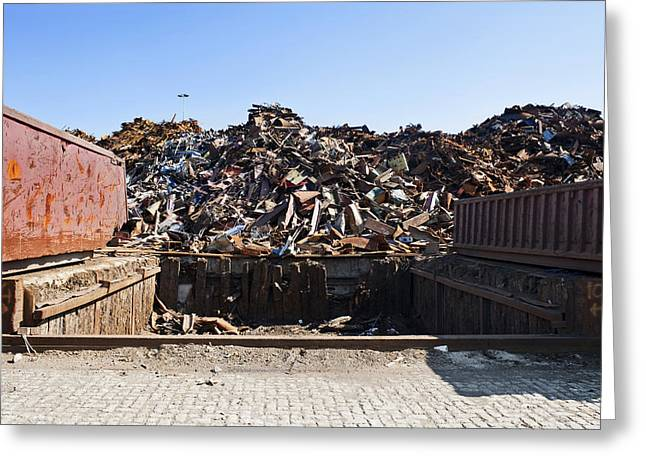 Recycle Dump Site Or Yard For Steel Greeting Card by Corepics