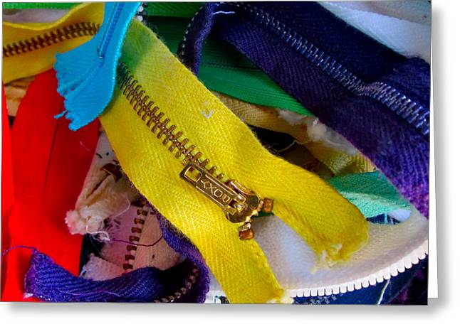 Photographs Digital Art Greeting Cards - Recycle Your Zippers Greeting Card by Gwyn Newcombe