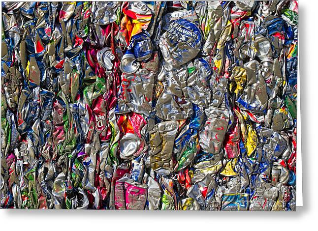 Recycled Aluminum Cans Greeting Card by David Buffington