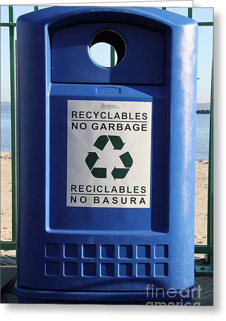 Conscious Greeting Cards - Recycling Bin Greeting Card by Photo Researchers, Inc.