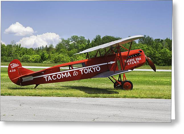 Airfield Greeting Cards - Red 1923 Fokker CIVA Vintage Biplane Photo Poster Print Greeting Card by Keith Webber Jr