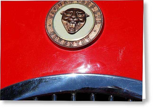 Red 1952 Jaguar XK120 . 7d15952 Greeting Card by Wingsdomain Art and Photography