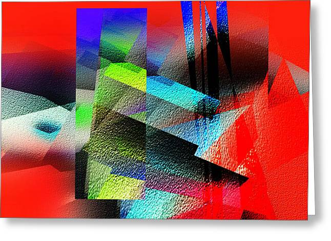 Red Abstract 1 Greeting Card by Anil Nene