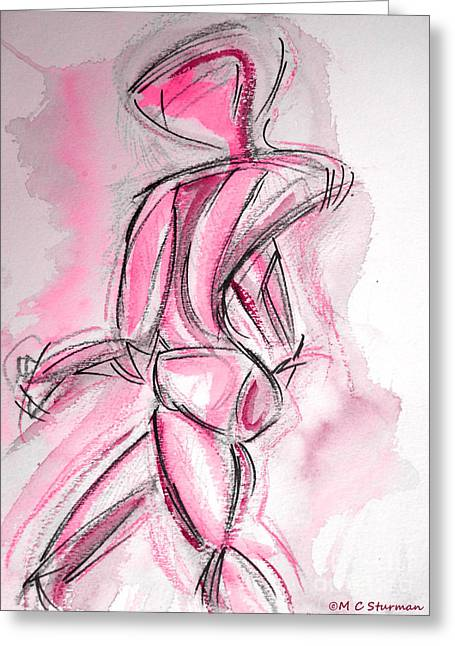 Physical Body Mixed Media Greeting Cards - Red Abstract Nude Greeting Card by M C Sturman