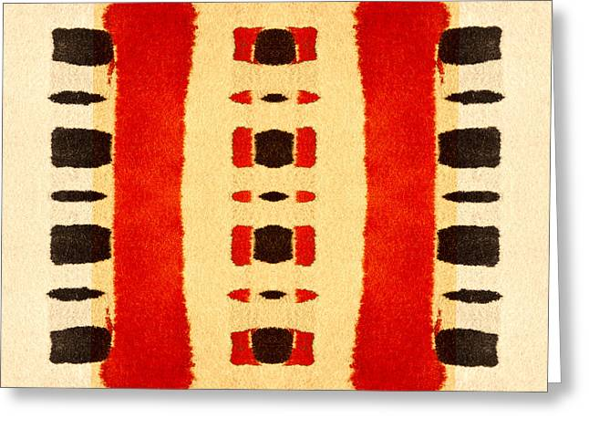 Primitive Digital Art Greeting Cards - Red and Black Panel Number 1 Greeting Card by Carol Leigh