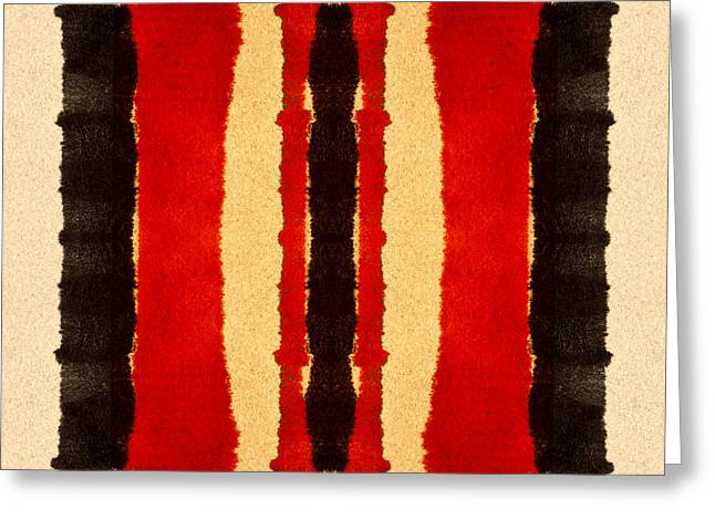 Primitive Digital Art Greeting Cards - Red and Black Panel Number 2 Greeting Card by Carol Leigh