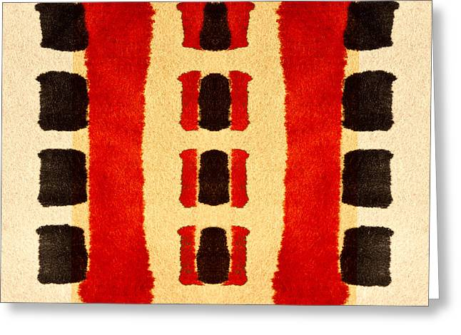 Primitive Digital Art Greeting Cards - Red and Black Panel Number 3 Greeting Card by Carol Leigh