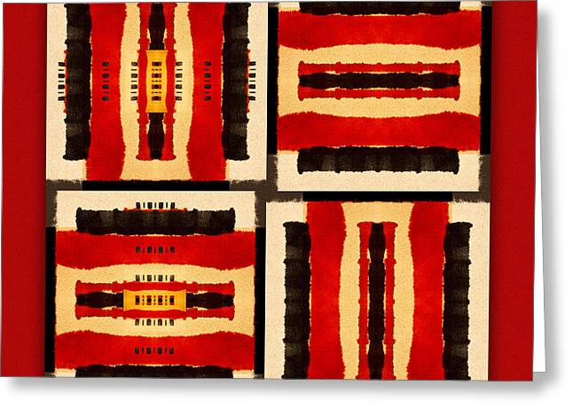 Primitive Greeting Cards - Red and Black Panel Number 5 Greeting Card by Carol Leigh