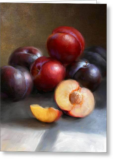 Cooks Illustrated Paintings Greeting Cards - Red and Black Plums Greeting Card by Robert Papp