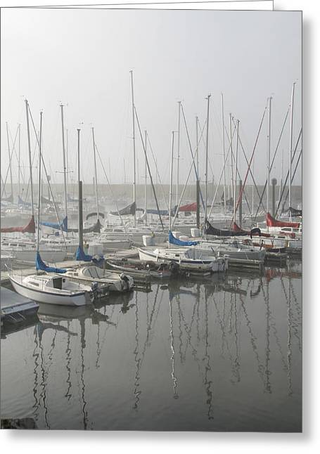 Sailboats Docked Photographs Greeting Cards - Red and Blue Boats Greeting Card by Laurie With