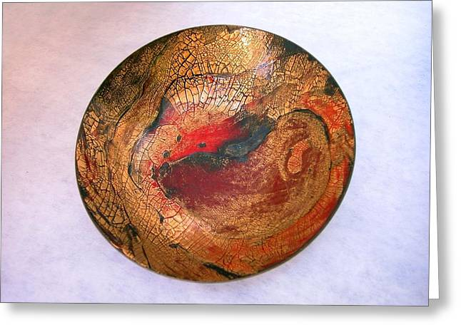 Universities Glass Art Greeting Cards - Red and Gold Crackle Enamel Dish Greeting Card by Margaret Ann Johnson Wilmot