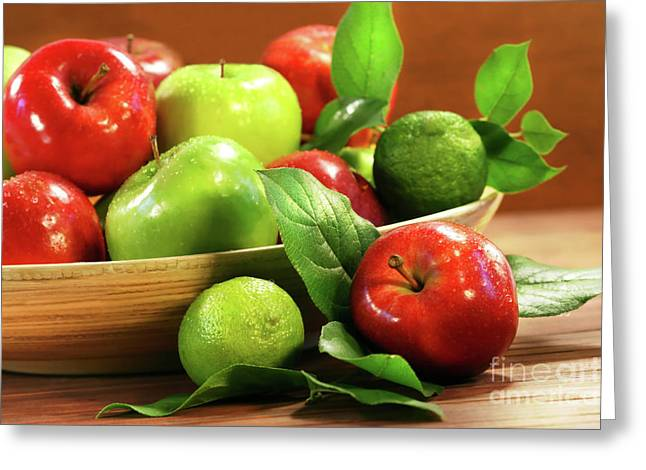 Red And Green Apples In A Bowl Greeting Card by Sandra Cunningham