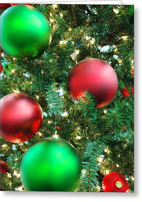 Light Posters Greeting Cards - Red and Green Holiday Greeting Card by Karen Musick