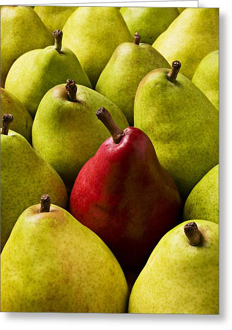 Green Pear Greeting Cards - Red and green pears  Greeting Card by Garry Gay