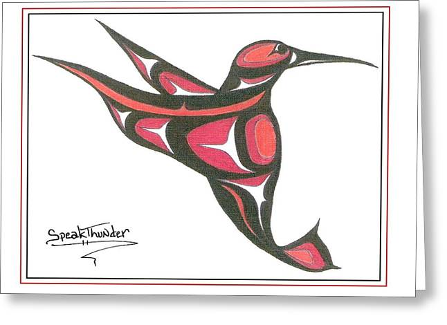 Speakthunder Berry Greeting Cards - Red And Oj Humming Bird Greeting Card by Speakthunder Berry