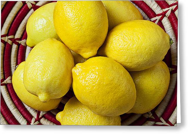 Red and white basket full of lemons Greeting Card by Garry Gay
